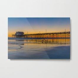 Seagull Sunset at Newport Pier Metal Print