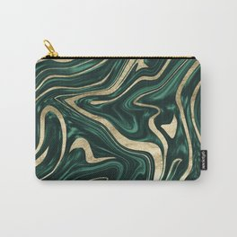 Emerald Green Black Gold Marble #1 #decor #art #society6 Carry-All Pouch