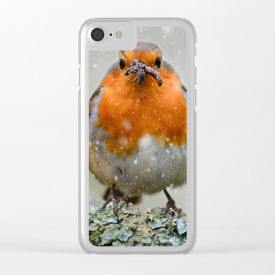Chubby Winter Robin Clear iPhone Case