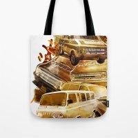 vans Tote Bags featuring URBAN VANS by les83machines