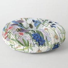 Wildflower in Garden Watercolor Flower Illustration Painting Floor Pillow