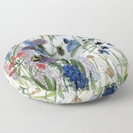 Wildflower in Garden Watercolor Flower Illustration Painting Floor Pillow