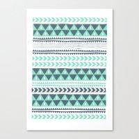 stripe Canvas Prints featuring Winter Stripe by Alice Rebecca Potter