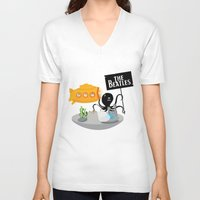 submarine V-neck T-shirts featuring Yellow Submarine by Ewan Arnolda