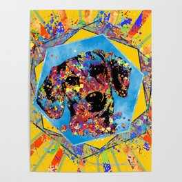 Dachshund dog  - Doxie Abstract Mixed Media Poster