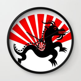 Dragon With Red Fan Wall Clock