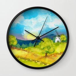 Watercolor Farm Landscape 1 Wall Clock