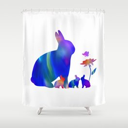 Rabbit mom and her bunnies Shower Curtain