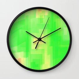 Watercolor yellow green square Wall Clock