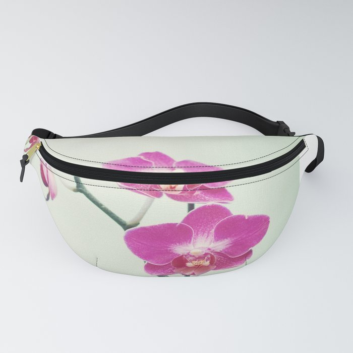 Orchid Flower Photography, Pink Mint Floral Art, Orchids Floral Photo, Botanical Nature Art Fanny Pack