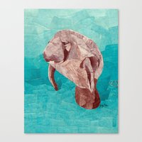 manatee Canvas Prints featuring Manatee by GiGi Garcia Collages