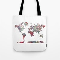 world map Tote Bags featuring World Map  by MapMapMaps.Watercolors