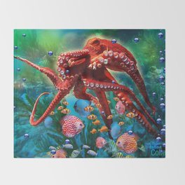 Red Octopus with Fish Throw Blanket