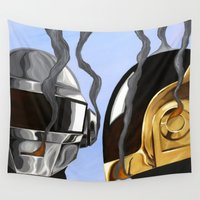 daft punk Wall Tapestries featuring Daft Punk Deux by FAMOUS WHEN DEAD