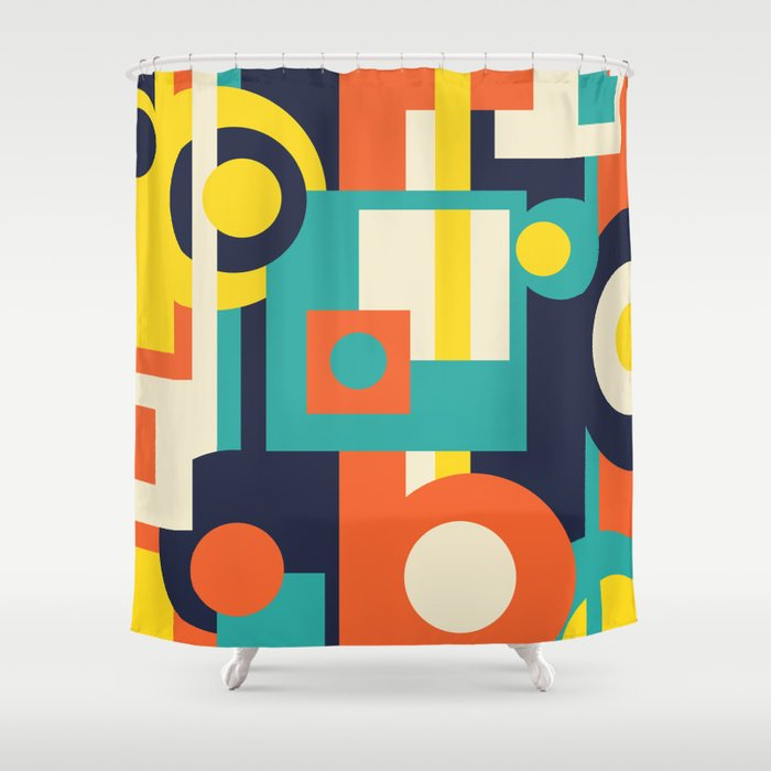 Funky Geometry (Modern Vibrant Color Palette) Shower Curtain