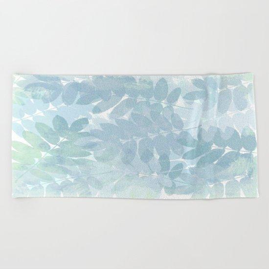 Vintage Blue Leaf Abstract Beach Towel