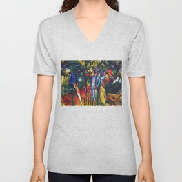 Hyacinth Macaw and Zoological Garden by August Macke Unisex V-Neck