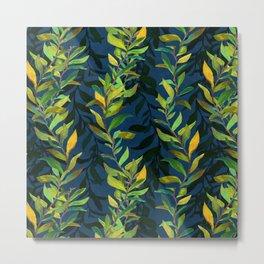 Blue and Green Seaweed Pattern Metal Print