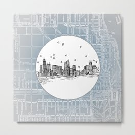 Chicago, Illinois City Skyline Illustration Drawing Metal Print
