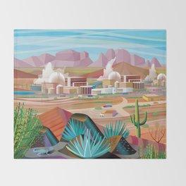 Power Generating Station in Desert Throw Blanket