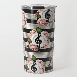 Musical Treble Clef with Watercolor Roses Pattern Travel Mug