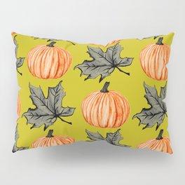 Gold Pumpkin Autumn Leaf Pillow Sham