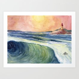 High Tide At Sunset Art Print