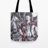 dracula Tote Bags featuring Dracula by Furiarossa