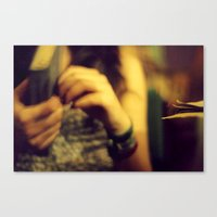 cafe Canvas Prints featuring Cafe by Dániel Marton