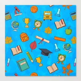 Back to school on blue background Canvas Print