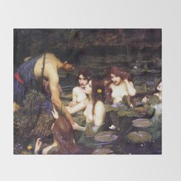 Hylas and the Nymphs,  John William Waterhouse Throw Blanket