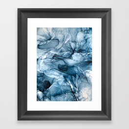 Churning Blue Ocean Waves Abstract Painting Framed Art Print