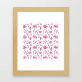 Sweet girly pink watercolor bear funfair pattern Framed Art Print