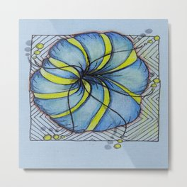 Blue and Yellow Zentangle Flower Metal Print