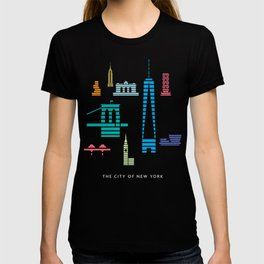 New York Skyline WTC Poster Color T-shirt