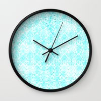 aqua Wall Clocks featuring Aqua Blue Damask by 2sweet4words Designs