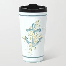 Blue anchor and flowers Travel Mug