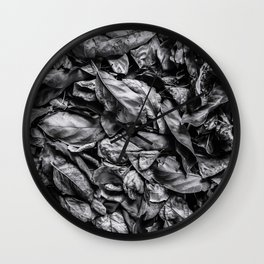 closeup leaf texture in black and white Wall Clock