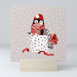 Cute Christmas Penguin Mini Art Print