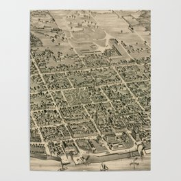 Vintage Pictorial Map of Fredericton New Brunswick (1882) Poster