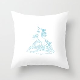 One Line One Horn Throw Pillow