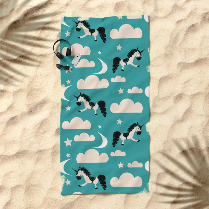 Unicorn Teal Beach Towel