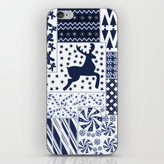 Christmas Blue Quilt iPhone & iPod Skin
