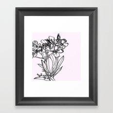 flower in black ink Framed Art Print