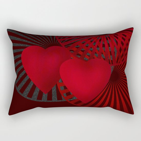 Love. The loving hearts .Black background . Rectangular Pillow