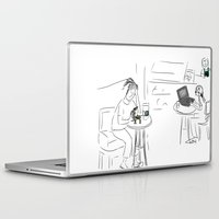 starbucks Laptop & iPad Skins featuring Reading the news at Starbucks by Gaby Kasan