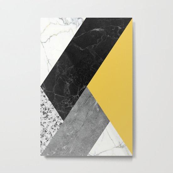 Black and white marbles and pantone primrose yellow color Metal Print