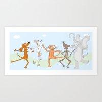 happy dancing animals  Art Print
