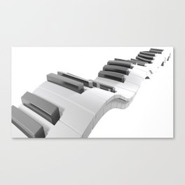 Keyboard of a piano waving on white background - 3D rendering Canvas Print