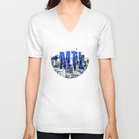 montreal V-neck T-shirts featuring Rep your City: Montreal by Greg Dubois aka. marvelgd